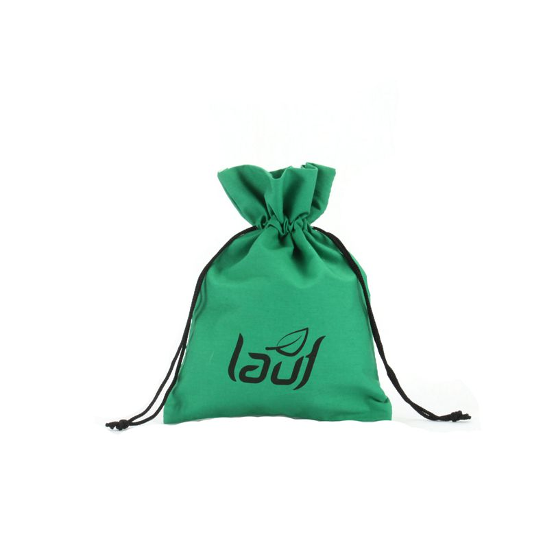 Green Customized Cotton Pouch with Printed Logo