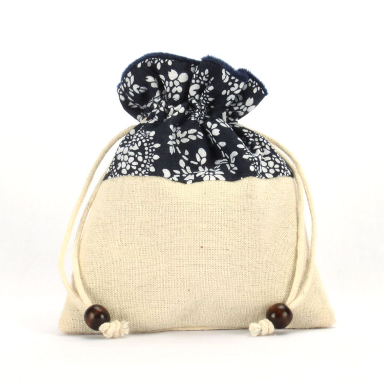 Organic Cotton Bag with Wooden Beads