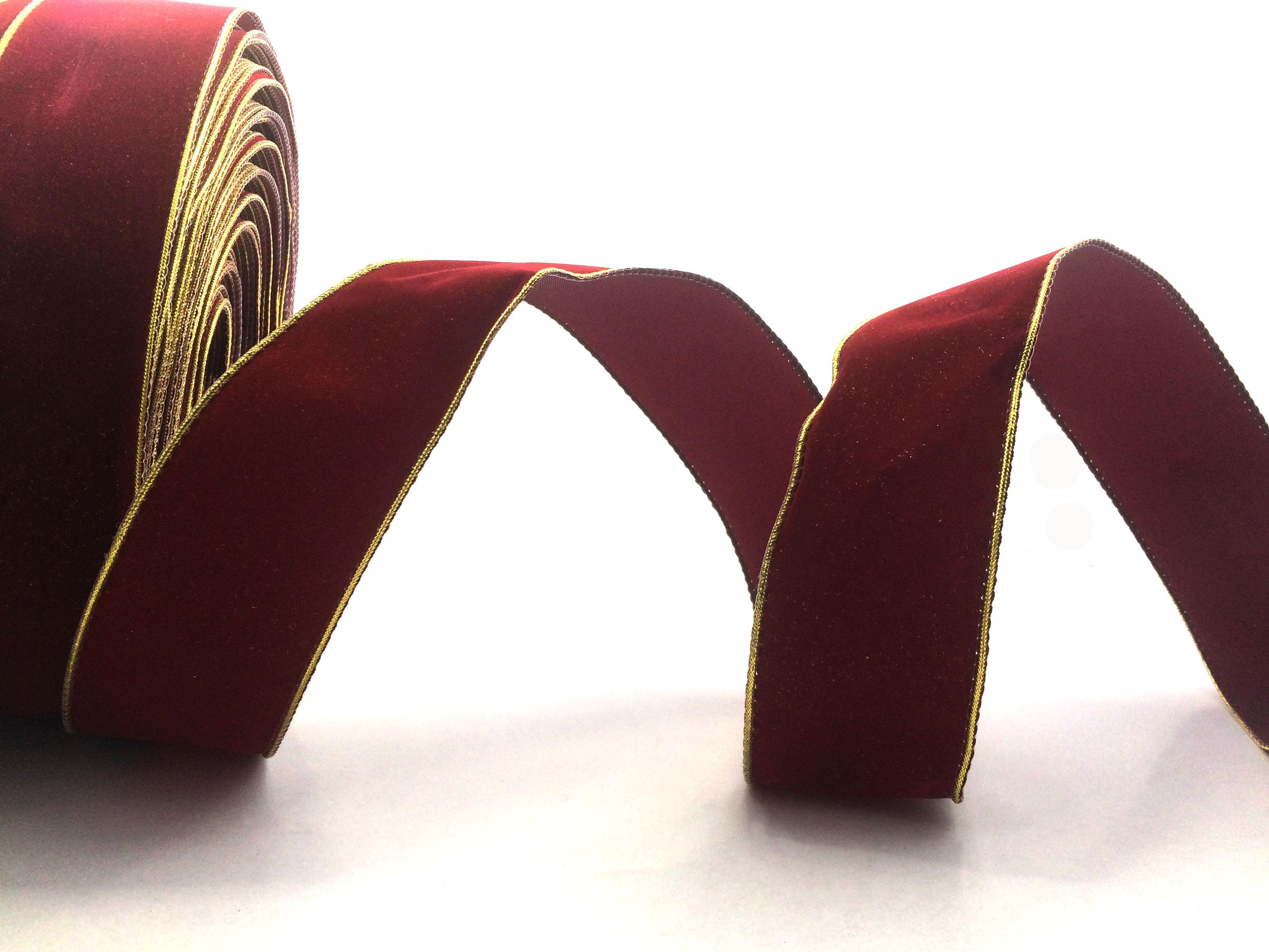 Decorative Velvet Wired Christmas Ribbon