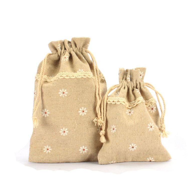 Flat Jute Drawstring Bag With Trims