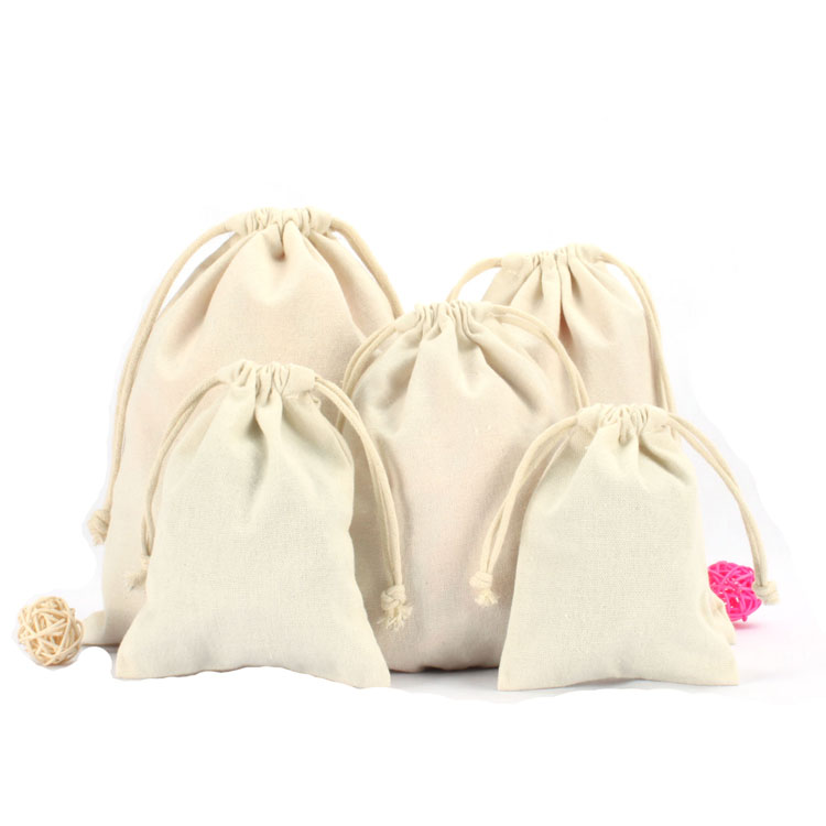 Reusable Drawstring Cotton Pouches