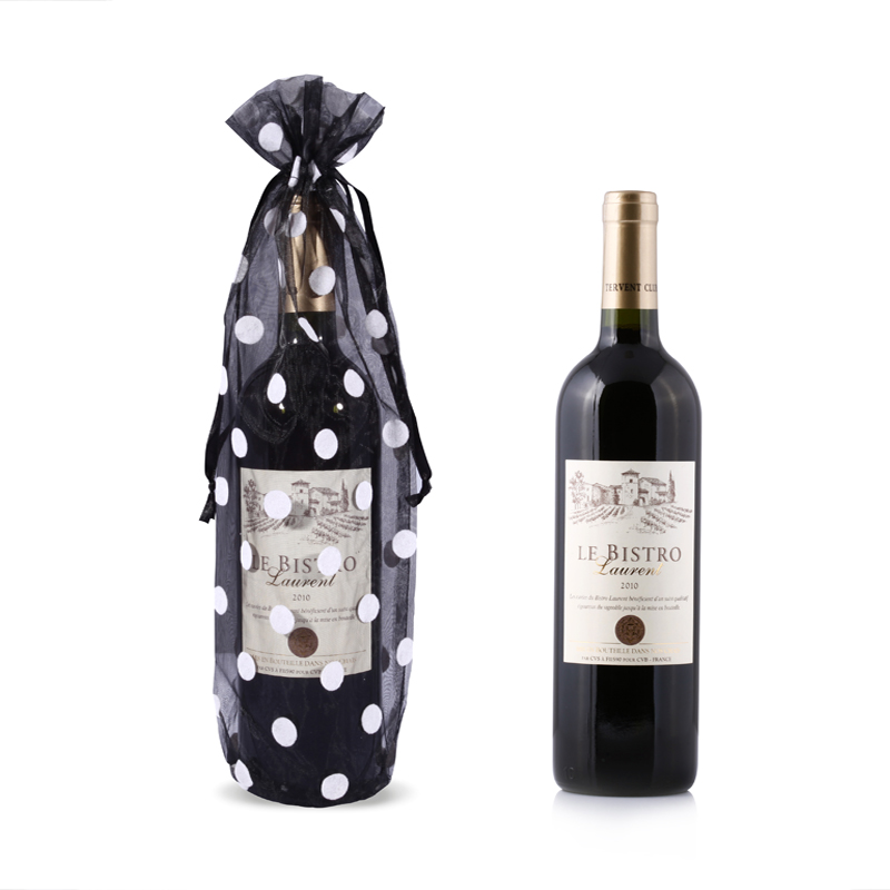Polka Dots Organza Wine Bags