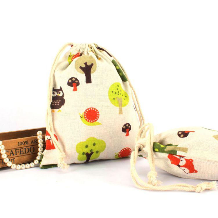 Small Printed Trees Cotton Drawstring Bags