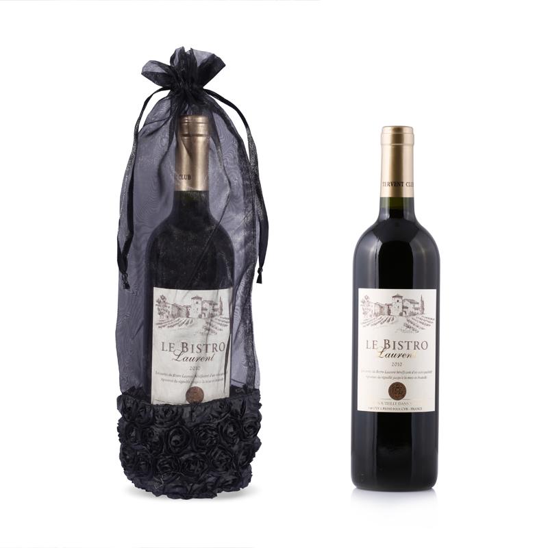 Custom Black Organza Wine Bottle Bag