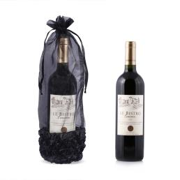 Custom Black Organza Wine Bottle Bag