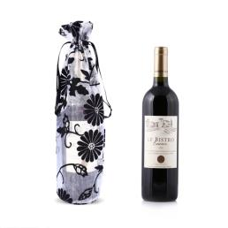 Printed Black Flower Wine Gift Bag
