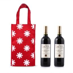 Red Double Wine Bottle Tote Bag