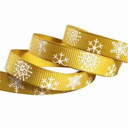 Yellow Grosgrain Ribbons With Snowflake