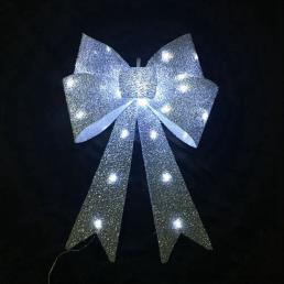 Glitter Bow LED Lamp Silver