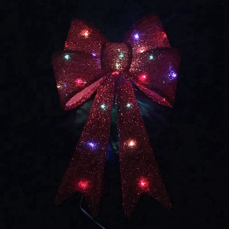 Glitter Bow Colorful LED Lamp Red
