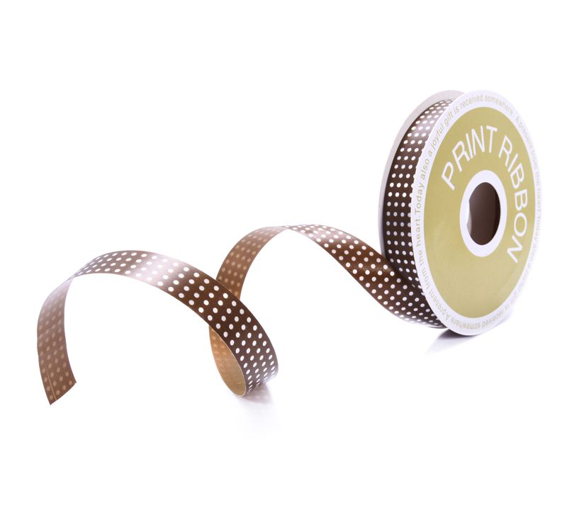 Dot Printed Poly Curling Ribbon Chocolate