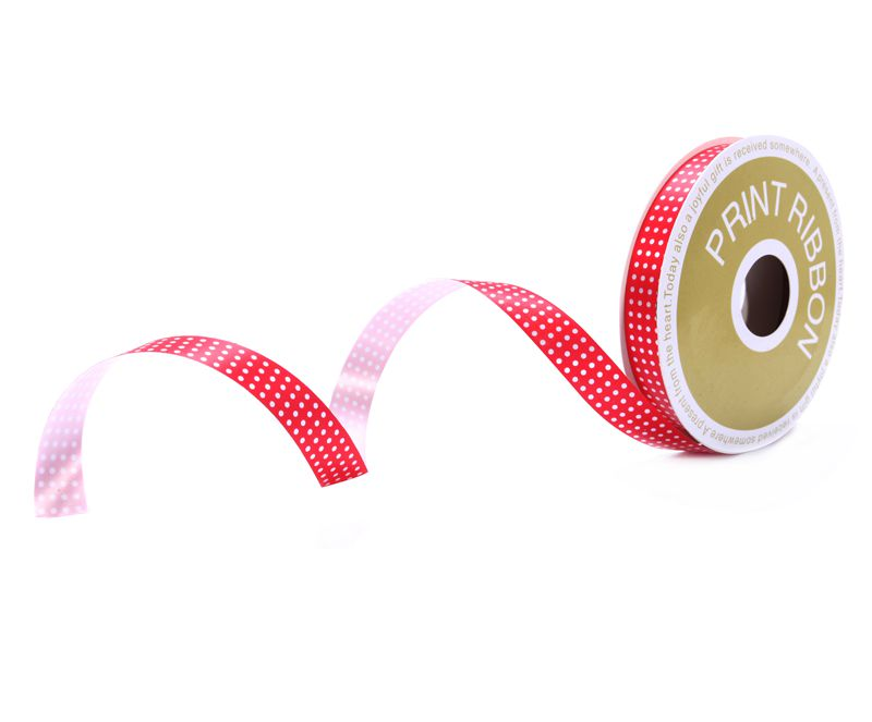 Dot Printed Poly Curling Ribbon Red