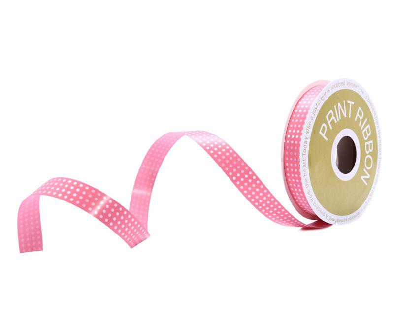 Dot Printed Poly Curling Ribbon Pink