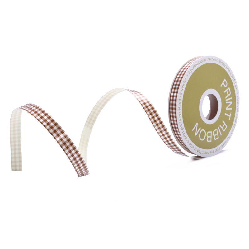 Check Printed Poly Curling Ribbon Chocolate