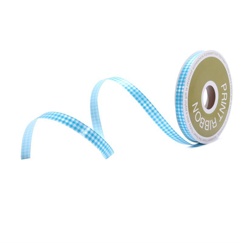 Check Printed Poly Curling Ribbon Baby Blue