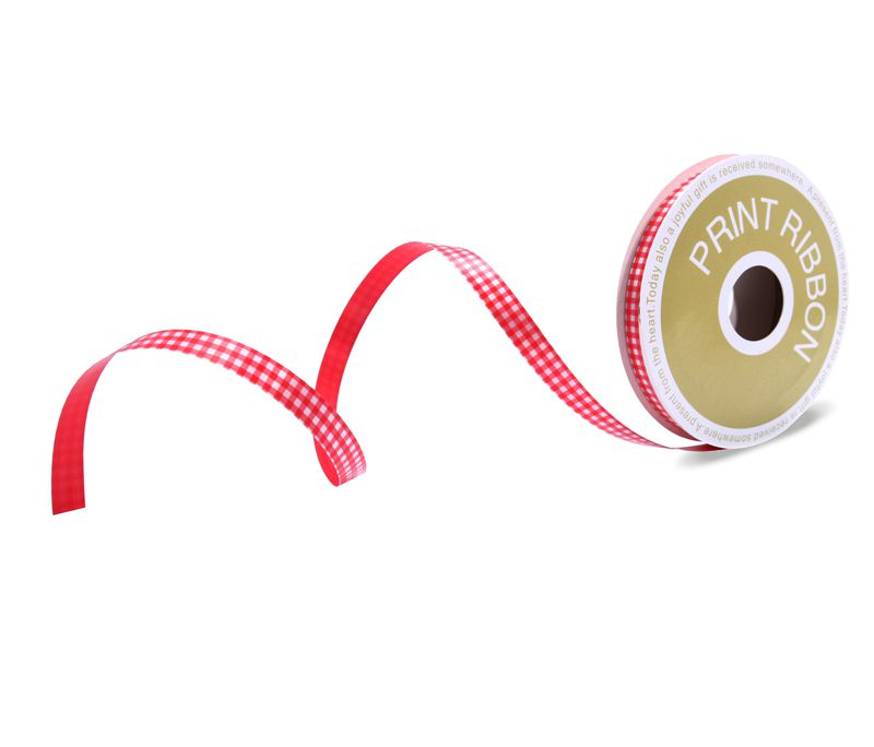 Check Printed Poly Curling Ribbon Red