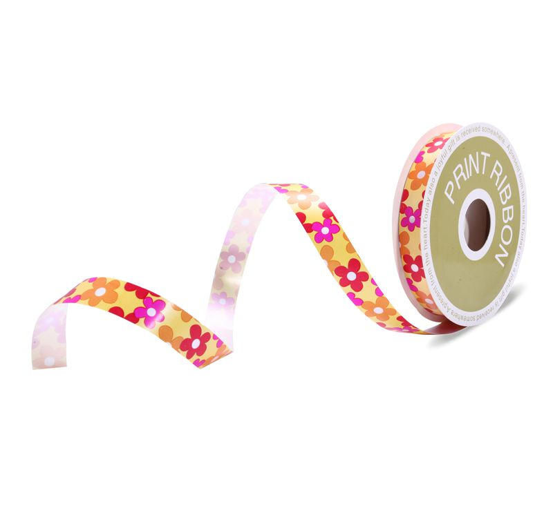 Flower Printed Poly Curling Ribbon