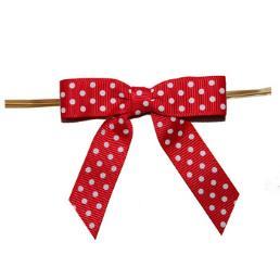 Dot Printing Grosgrain Ribbon Bow Red