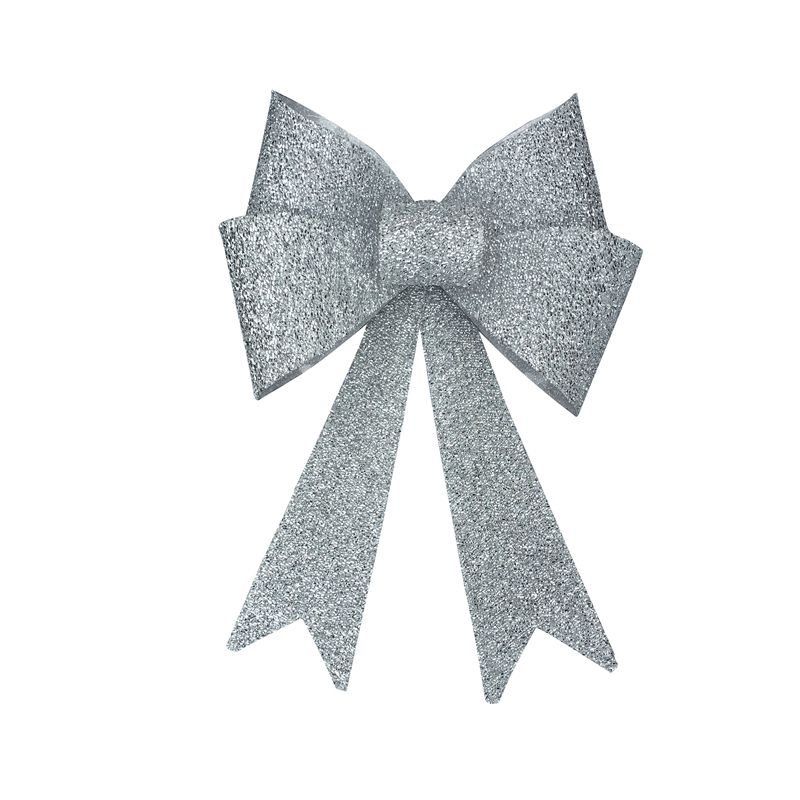 Textured Glitter Bow LED Lamp Silver