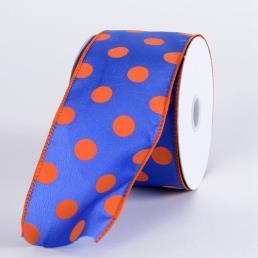 Dot Printed Satin Ribbon Wired