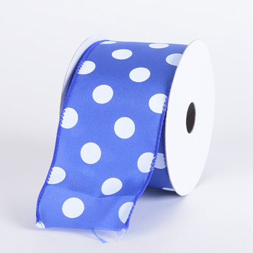 Dot Printed Satin Ribbon Wired