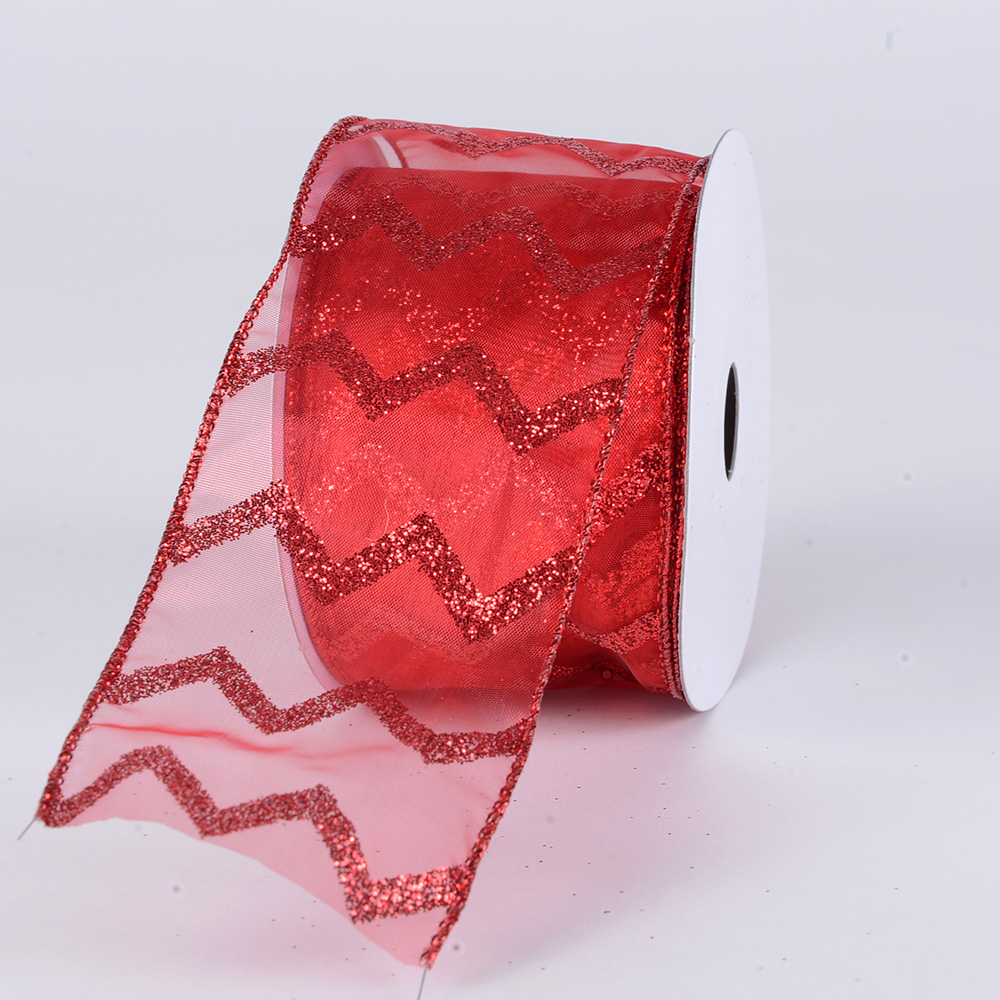 Christmas Ribbon Glitter Chevron Red