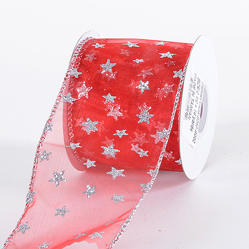 Christmas Ribbon Red With Silver Start