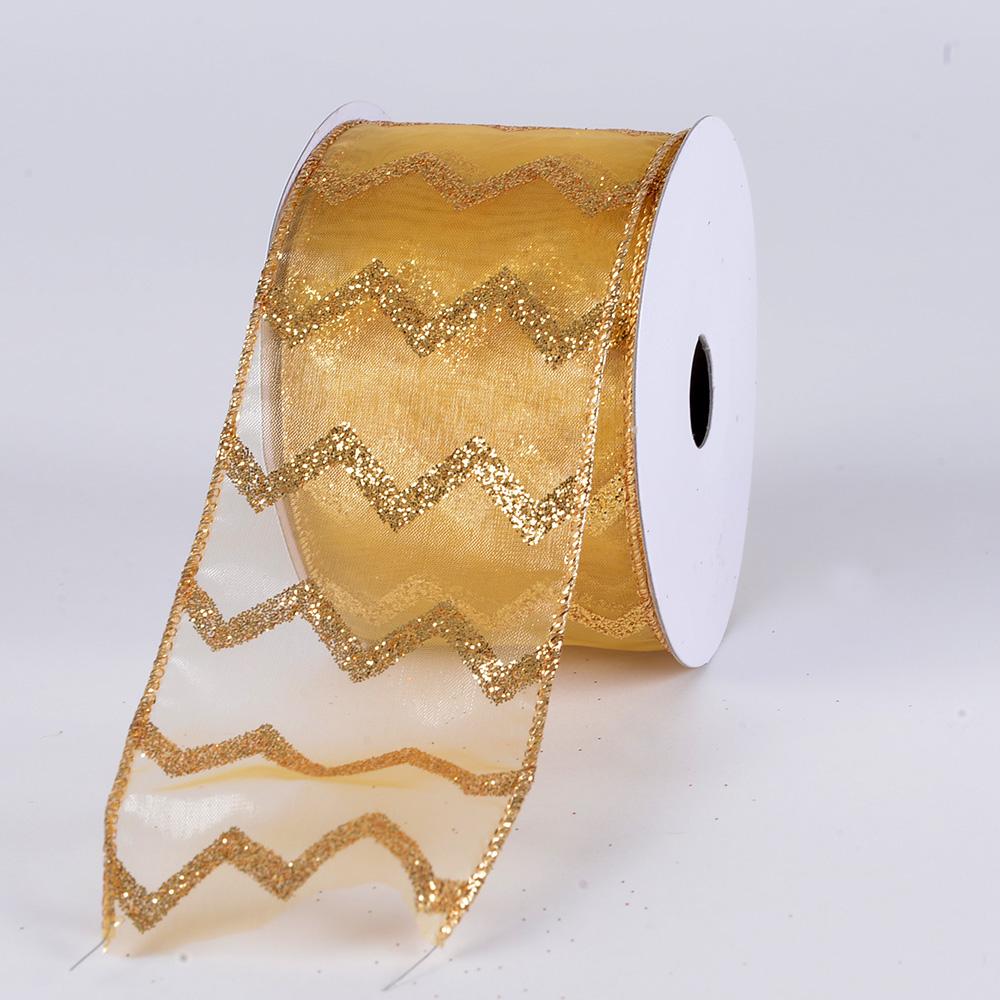 Christmas Ribbon Glitter Chevron Gold