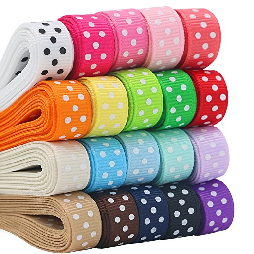 Custom Printed Grosgrain Ribbons with Polka Dots