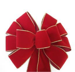 Hand-made gold edge brick red velvet bows