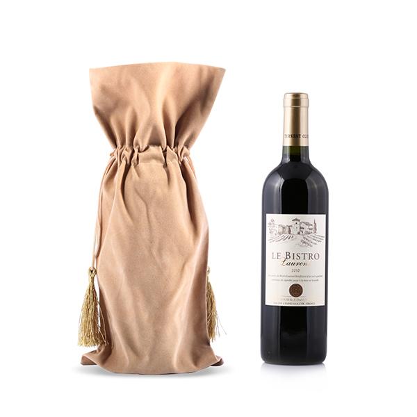 Velvet Wine Bag with Tassel Drawstring