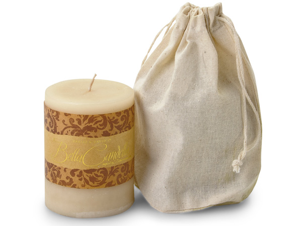 Natural Cotton Drawstring Pouch for Candle