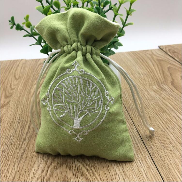 Embroidered Velvet Jewelry Pouch With Linning