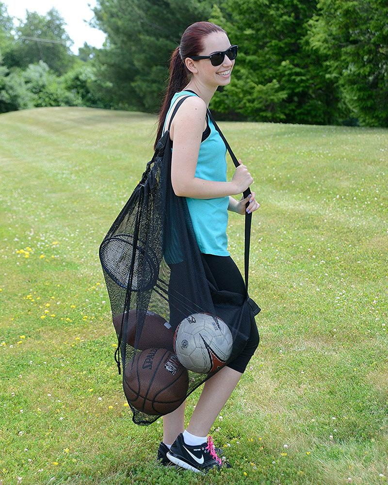 Reusuable Black Mesh Sport Bag