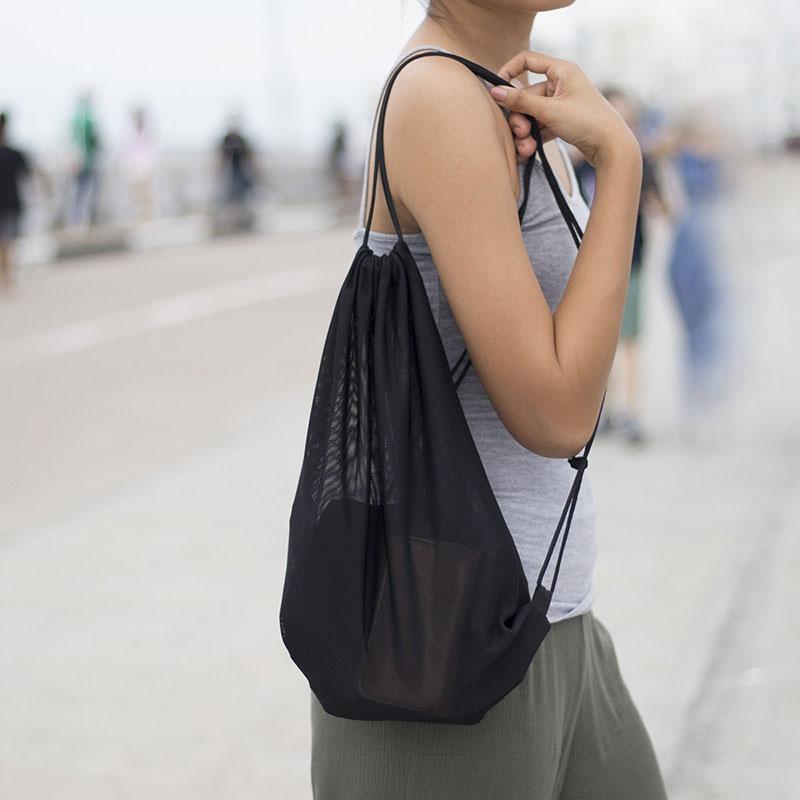 Black Mesh Bag With Drawstring Shoulder Straps