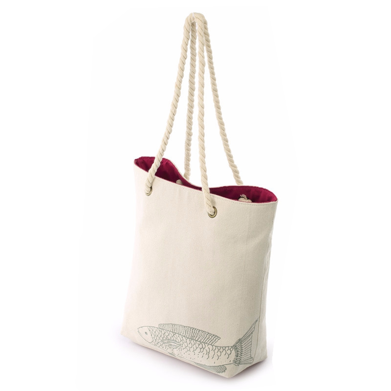 Cotton Shoulder Bag With thick Ropes