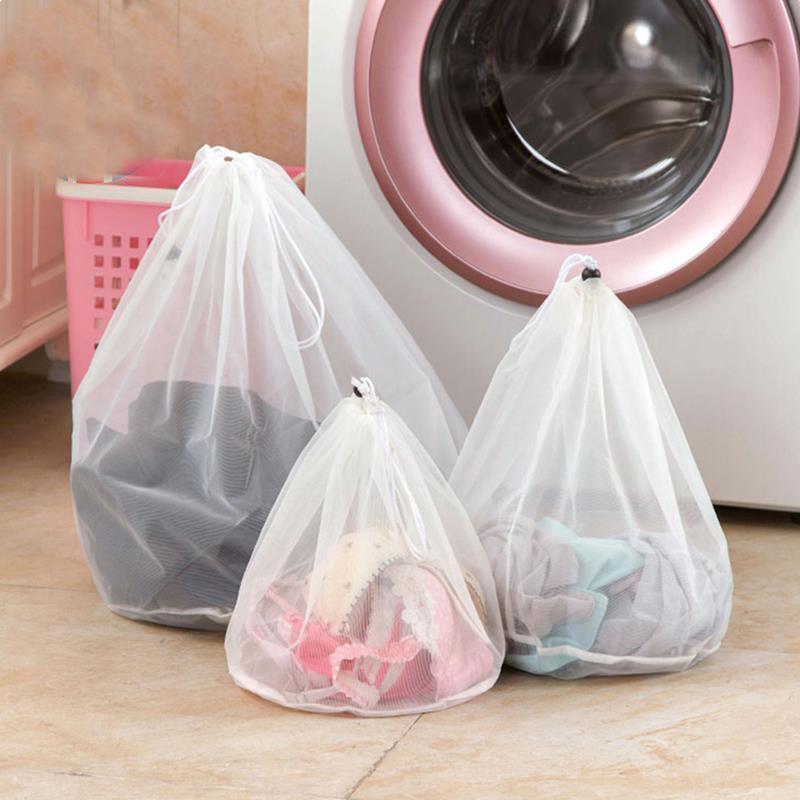 Round Bottom Mesh Laundry Bag White