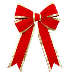 Red Commerical Bow with Gold Trim 24""