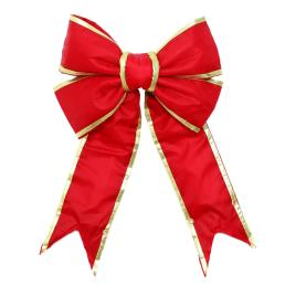 Red Nylon Bow with Gold Trim 18""