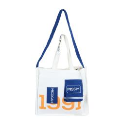White Miss'M Cotton Canvas Tote Bag