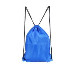 Blue Plain Polyester Cinch Tote Bags