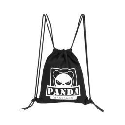 Reusable Canvas Panda Cinch Drawstring Bag