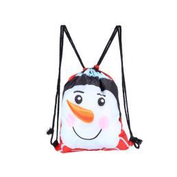 Snowman Drawstring Gift Bag for Christmas