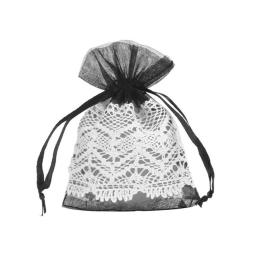 Black Organza Pouch with Lace Trim