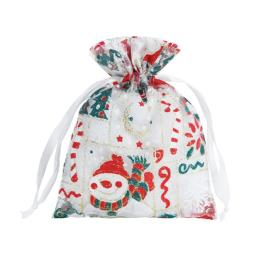 Colorful Christmas Organza Gift Pouch Bag