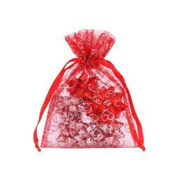 Valentine's Day Organza Pouch with Hearts