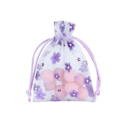 Organza Favor Pouch with Printed Flowers