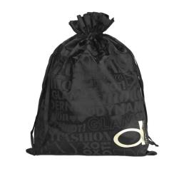 Black Custom Silk Drawstring Storage Bag
