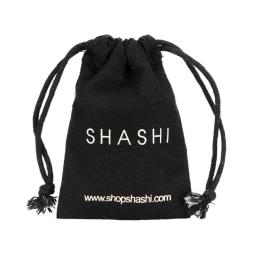 Small Black Cotton Bag with Drawstring