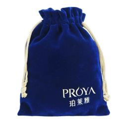 Blue Velvet Drawstring Gift Favor Bag